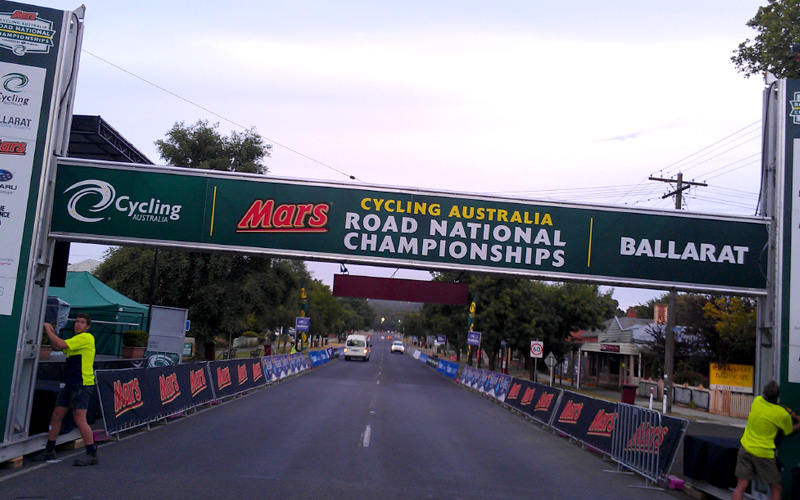 marquee for Ballarat Cycling Australia Road National Championships